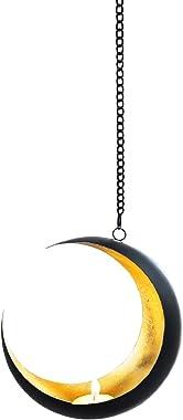 Photophore marocain en métal Suspendu Qamar 20cm Noir | Bougeoir Lanterne Marocaine à Suspendre pour l'extérieur au Jardin l'