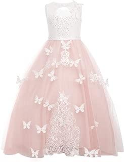 Little Big Girl Lace Flower Applique Tutu Long Dress Wedding Birthday Princess Pageant Evening Dance Gown