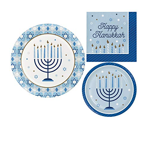 Hanukkah Celebration Themed Party Supplies - Bundle Includes Paper Plates and Napkins for 8 Guests