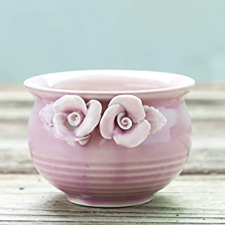 CJH Creative Fashion Succulents Retro Ceramic Pots Hand-painted Flowers (Color : Pink)