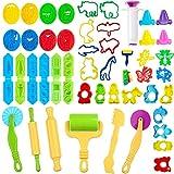 JWTOYZ Knetwerkzeug Kinder, 49Pcs Knete Werkzeug Knete Zubehör, Ausstechformen für Knete, plastilin zubehör, PVC-Aufbewahrungstasche -