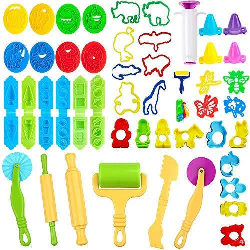 JWTOYZ Knetwerkzeug Kinder, 49Pcs Knete Werkzeug Knete Zubehör, Ausstechformen für Knete, plastilin zubehör, PVC-Aufbewahrungstasche