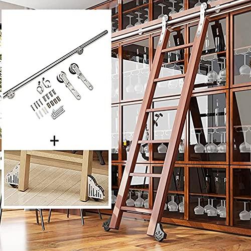 Juego completo de riel rodante para escalera Hardware 6.6ft-13ft kit de puerta corrediza granero acero inoxidable móvil de tubo redondo para biblioteca/loft/hogar/interior/librería (sin escalera)