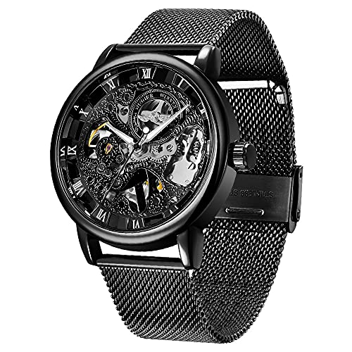 Automatik Uhr Mann Mechanische Skelettuhren Herren Luxus Business Skeleton Edelstahl Armbanduhr männer