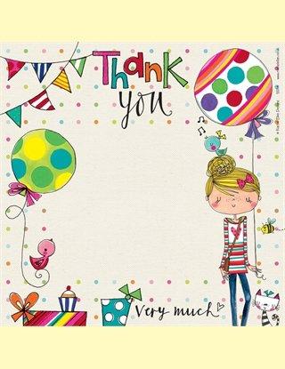 Rachel Ellen dank u kaarten - partij meisje met ballonnen