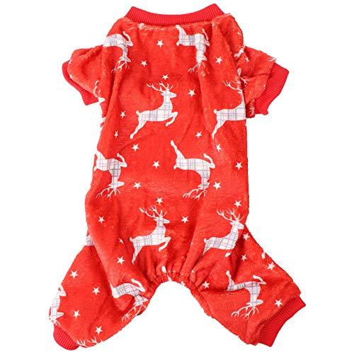 VILLCASE Pijama de Navidad para Perros Disfraz de Franela Caliente Festival de Vacaciones para Cachorros Ropa de Alce- Suministros de Mascotas