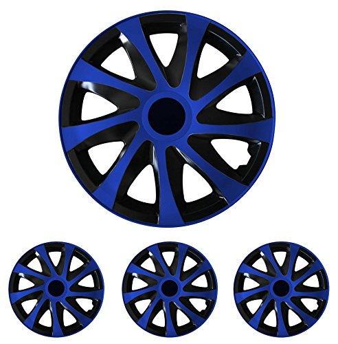 """Fussmatten-Deluxe 4er Set Universal Radkappen Radzierblenden 15 Zoll 15"""" R15 universell für Stahlfelgen vieler Fabrikate Bicolor Schwarz-Blau"""