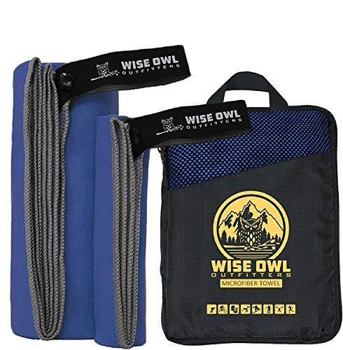Wise Owl Outfitters Camping Towel & Gym Towel - Ultra Soft Compact Quick Dry Microfiber Best Fast Drying Fitness Beach Hiking Yoga Travel Sports Backpacking - XL Rblue