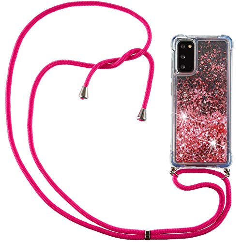 Vepbk - Funda para Samsung Galaxy S20, funda para teléfono móvil con purpurina y líquido, de silicona suave, con cordón, resistente a los golpes, transparente con correa para el cuello, color rosa