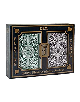 Kem Playing Cards Arrow Green and Brown Bridge Size- Standard Index Playing Cards  Pack of 2   1020681