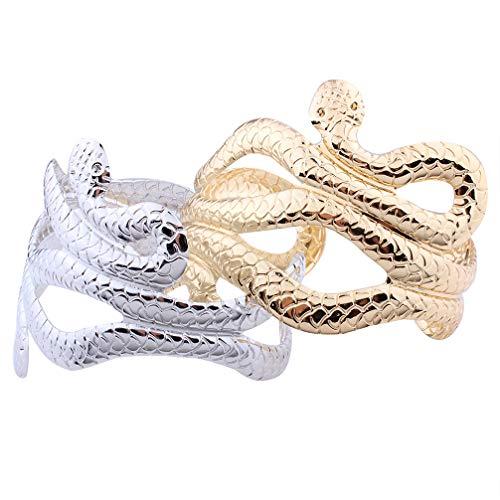 Holibanna Moda Serpiente Pulsera de múltiples Capas Elegante aleación de Hierro Brazalete Abierto Elegantes brazaletes para Dama Mujer niñas Dorado 2 Piezas