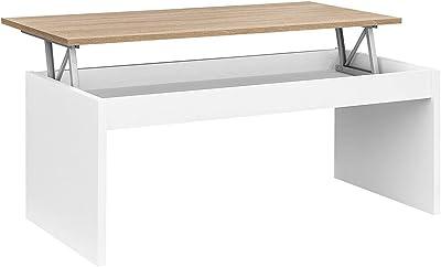 COMIFORT Table Basse avec Plateau Relevable - Table de Salon Fonctionelle avec Rangement, Moderne, Élégante, avec 2 Pieds Résistants, Écologique, Blanc et Bois