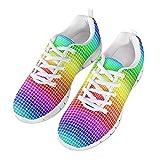 POLERO Kreative Irised Rainbow Squares Schuhe Atmungsaktive Schuhe Damen Herren Slip on Sneaker Bequeme Sneaker Sportschuhe Leichte Laufschuhe Laufgymnastikschuhe Schnürschuhe Freizeitschuhe 39 EU