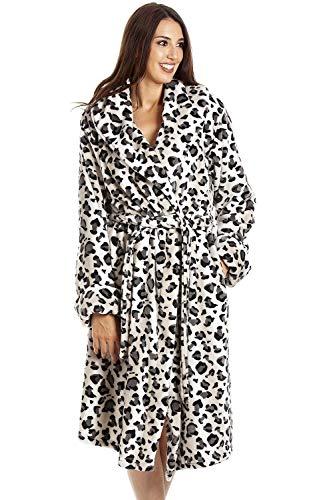 Camille Albornoz de vellón Suave de Varios Estilos y Colores para Mujer 46-48 Snow Leopard