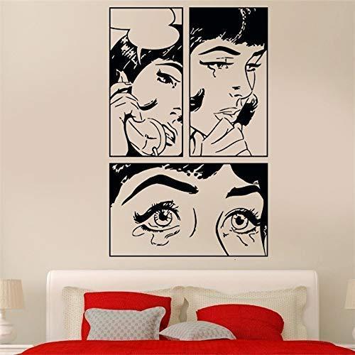 Mooie Meisje Huilen Koele Pop Artiest Woonkamer Decoratie Muursticker Creatieve Cartoon Hotel Wanddecoratie Mural 58X95Cm
