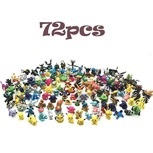 JIM - 72 Stück Pokémon,Pokémon Pearl Minifiguren,Pikachu Pocket Monster,Pokemon Action Figuren