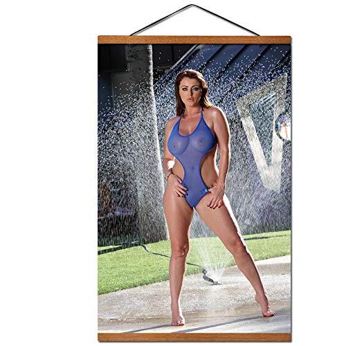 Bikini Meisje Posters en Prints Muurkunst Scroll Schilderijen op Doek voor Woonkamer Decoratie - 60x80cm geen Hout