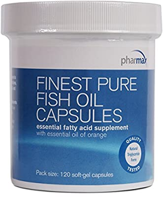 Pharmax - Finest Pure Fish Oil Capsules - Supports Cognitive Health and Brain Function - 120 Capsules