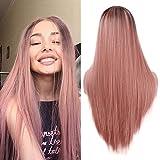 Larga naranja rosa recta peluca moda 2 tono resistente al calor sintético Ombre pelucas para mujeres 22 pulgadas
