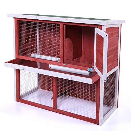 COZIWOW Large Rabbit Hutch Indoor Outdoor for Multiple Rabbits, Wooden Bunny Run Cage, Small Animal Pens Hutches Cat Kitten Enclosure
