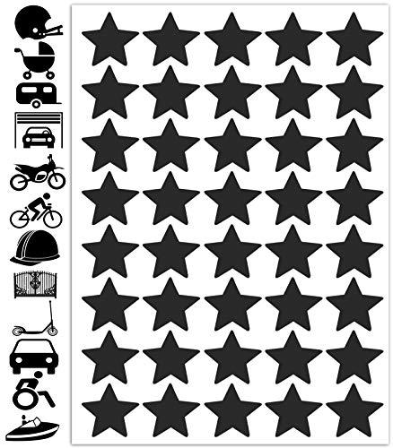 Biomar Labs® Reflektoren Reflektierende Aufkleber Reflexfolie Schwarz Stickers Set Stern (40 Stück) Selbstklebende Reflektierende Reflektor Sicherheitsaufkleber Felgenrandaufkleber Felgenstreifen D 64