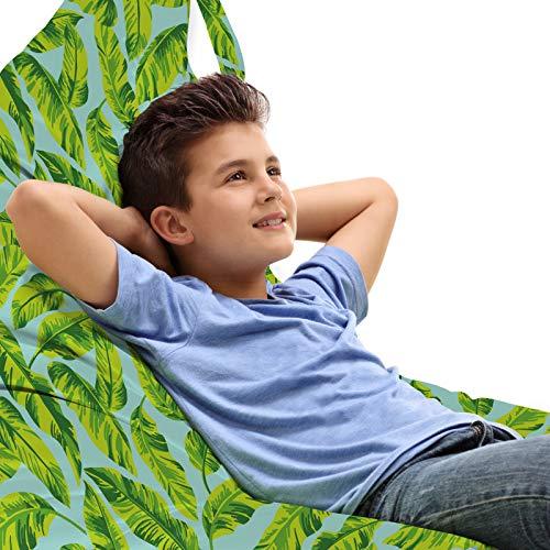 ABAKUHAUS Hawaiiaans Zitzak, Exotische Bladeren van de Banaan Afbeelding, Veel Ruimte om Zacht Speelgoed als Knuffels in op te Bergen, met Handvat, Pale Blauw Geel Groen