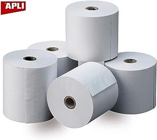 APLI 13321 - Pack de 8 rollos de papel térmico, 80 x 60 x 12 mm, color blanco