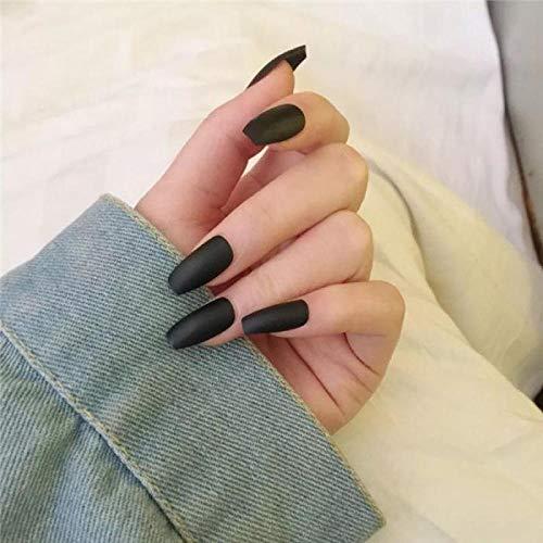 Wangguifu Populaire Gommage Pur Noir Faux Ongles Mode Tempérament Court Manucure Accessoires Mariée Faux Ongles Patch Nail Colle 24