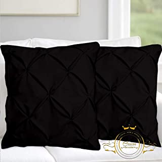 Hotel Quality White Solid Pinch Pleated Pintuck Euro Pillow Shams Set of 2 - Hypoallergenic 500-TC 100% Egyptian Cotton Decorative Pintuck European Pillow Sham (Black, Euro 26'' x 26'')