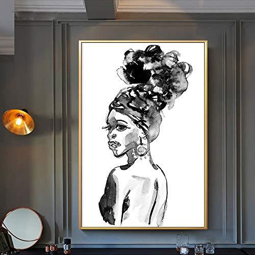wZUN Quadro su Tela Dipinto in Bianco e Nero Bellezza Donna Africana Immagine da Parete per Soggiorno Decorazione Domestica Poster e Stampe d'Arte 60x90 Senza Cornice