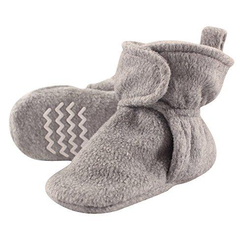Hudson Baby Unisex Cozy Fleece Booties, Heather Gray, 0-6 Months