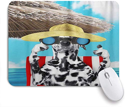 Benutzerdefiniertes Büro Mauspad,Dalmatiner Hund auf Strandkorb mit Teleskop,Anti-slip Rubber Base Gaming Mouse Pad Mat