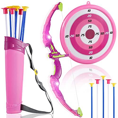 Sovinia Pfeil und Bogen Kinder ab 4 Mädchen Pfeil und Bogen gesetzt, Bogenschießen Schießspiele mit 8 Pfeilen bogenschießen Zielscheibe, Girls Archery Set, Geschenk für Mädchen ab 4 Jahre