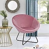 Cocoarm Sillón redondo de comedor, sillón de relax, cojín suave de terciopelo, asiento y respaldo con patas de metal,...