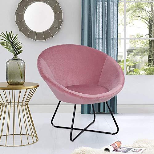Ejoyous - Sillón acolchado redondo, color rosa y gris, silla de visita, silla de televisión, sillón de salón, silla de salón con patas de metal, semicerrada, 84 x 52 x 48 cm