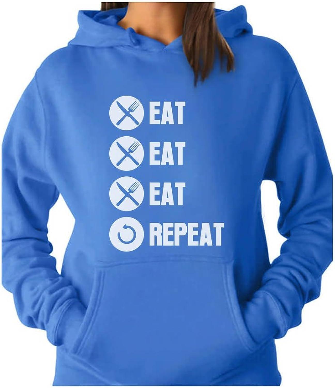 Tstars  Eat Eat Eat Repeat Funny Women Hoodie