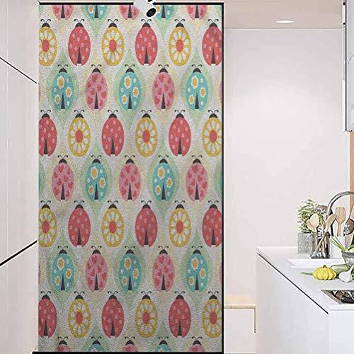 wonderr Waterproof Glass Window Privacy Film Stained Glass Sticker, Ladybugs Cartoon Geometric Pattern, Living Room Bedroom Kitchen Lobby Porch Office, W17.7xH35.4 Inch