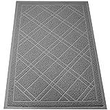 SlipToGrip Universal Gray Door Mat with DuraLoop - Jumbo 42'x35' Outdoor Indoor Entrance Doormat - Waterproof - Low Profile Door Mat - Welcome - Front Door, Garage, Patio