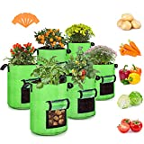10 Gallon Potato Grow Bags, 6 Pack, Two-Sides Window Garden Planting Bag with Durable Handle, Thickened Nonwoven Fabric Pots Vegetable Grow Bags for Tomato, Carrot, Onion, Fruits, Flower(Green)