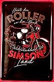 Tin Sign Blechschild 20x30 cm Simson Moped Motorrad Bike DDR Ostalgie Werkstatt Reklame Plakat Werbung Metall Schild