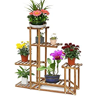 UNHO Wooden Flower Stands Plant Display Stand Wood Pot Shelf Storage Rack Outdoor Indoor 6 Pots Holder 96x95x25Cm