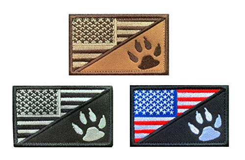 Antrix 3 Pcs American Flag/Service Dog K9 Paw Tracker Tactical Police Dog Patch Hook & Loop Badge Emblem Patch for Medium and Large Dog Vests/Harnesses