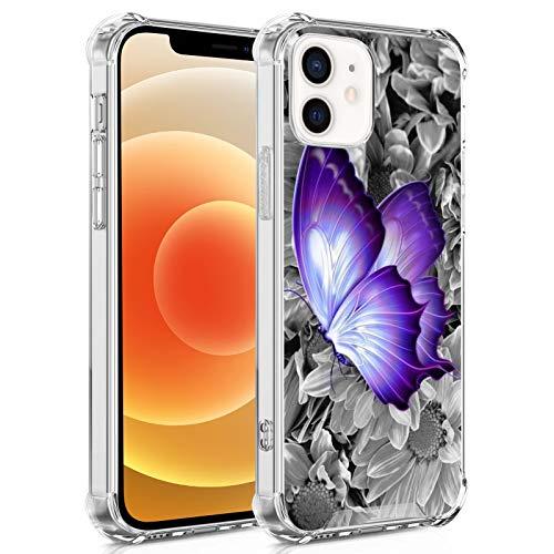 FAUNOW Schutzhülle für iPhone 12 Mini, Schmetterling, Blume, transparent, TPU