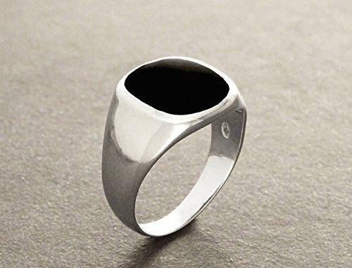 Hipster ring - black onyx ring - silver 925 - modern men ring - onyx gemstone - cushion signet ring - men jewelry - men ring - black ring.