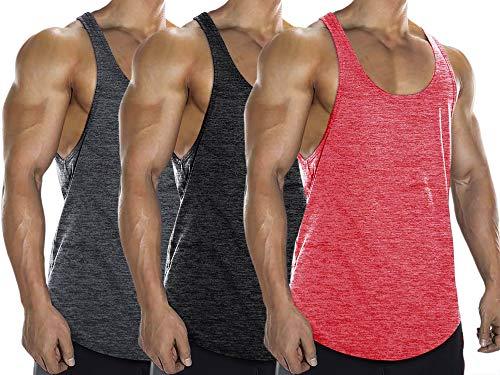 Lehmanlin Men's Gym Tank Tops 3 Pack Stringer Bodybuilding T-Shirts 2CM Shoulder (3Pack:Pink+Black+Gray, M)