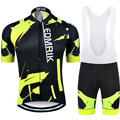 EDMRIK Traje de Ciclismo para Verano, Maillot Ciclismo Mangas Cortas y Acolchado de Gel Culotte Bicicleta para MTB (XL, TIAM3)
