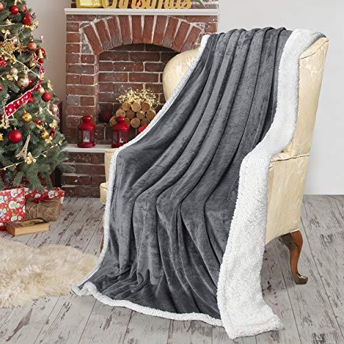 Catalonia Sherpa Decke Flauschige Decke, Dual Microplush Superweiche Fleecedecke Micro Mink Fleece Plüsch Couch Warme Decke Wendbare Bettdecke TV Decke, 150 x 200 cm, Grau