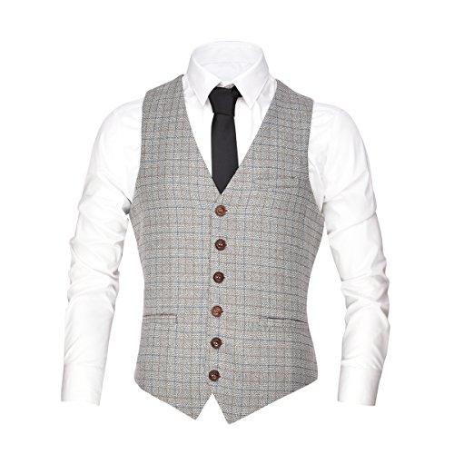 VOBOOM Men's V-Neck Suit Vest Casual Slim Fit Dress 6 Button Vest Waistcoat (Beige, XL)