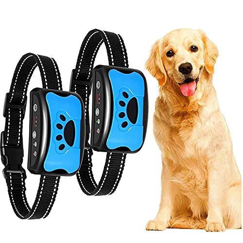 2 Stücke Erziehungshalsband Hunde Halsbänder, Nylon Hundehalsbänder Anti Bellen Halsband Mit Vibration, Sound Automatisches Trainingsgerät Für Kleine, Mittelgroße Und Große Hunde Stoppt Bellen