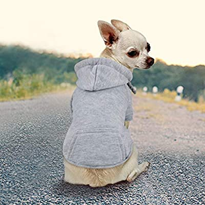 Idepet Dog Cat Hoodie Cotton Pet Coats Solid Color Clothing for Small Dogs Puppy Teddy Poodle Chihuahua (XL, Gray)